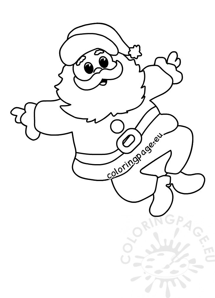 Happy Santa Claus jumping in the air printable