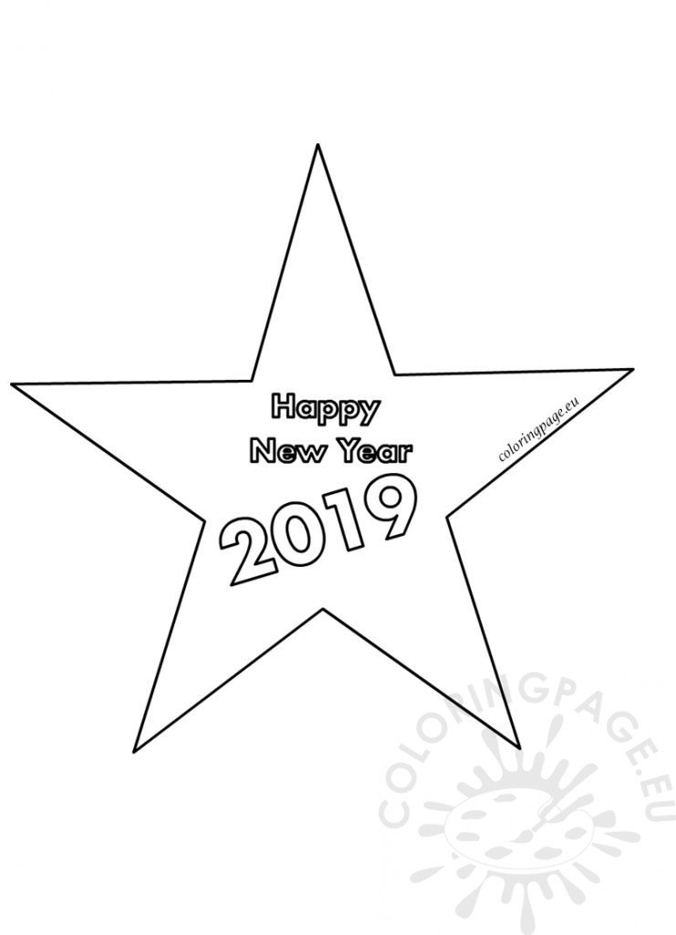 Happy New Year 2019 Star Decoration Template Coloring Page