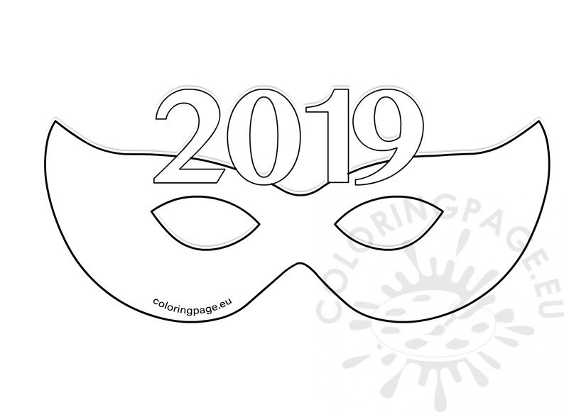 2019 New Year Paper Party Eye Mask Template Coloring Page