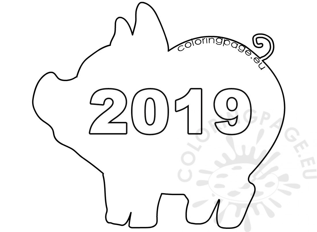 Year of the pig 2019 coloring pages ~ Pig 2019 template Chinese New Year – Coloring Page