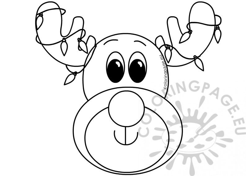 Xmas Reindeer Face With Colored Lights Coloring Page