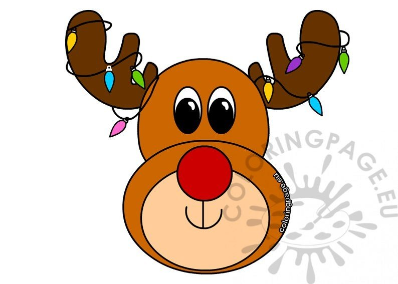 image relating to Printable Reindeer Face known as Reindeer experience with coloured lighting printable Coloring Website page