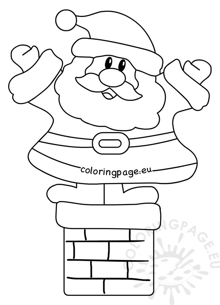 Cartoon Happy Santa Claus on the fireplace - Coloring Page