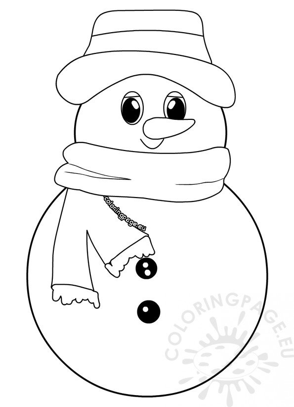 Simple snowman color sheets preschool - Coloring Page