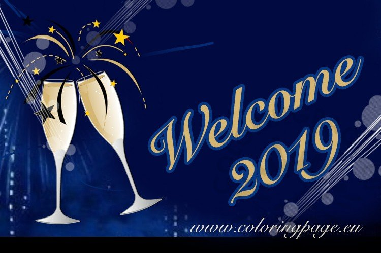 Welcome 2019 Blue vector image printable