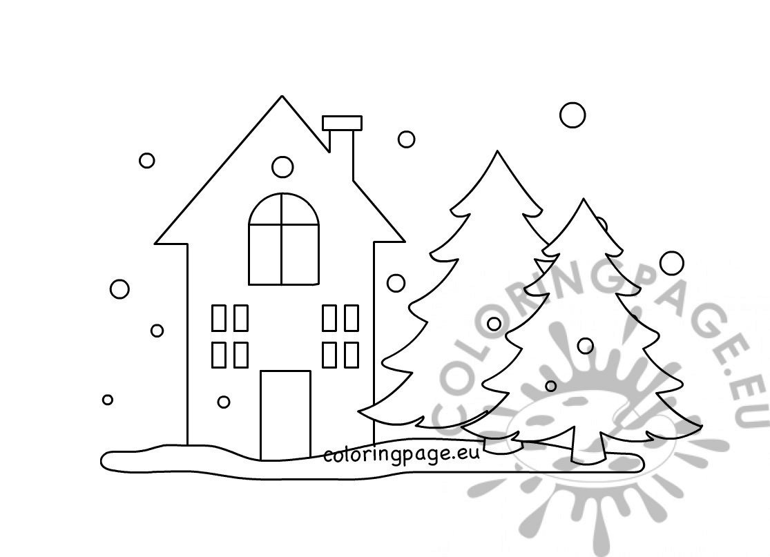 Winter landscape with house template - Coloring Page
