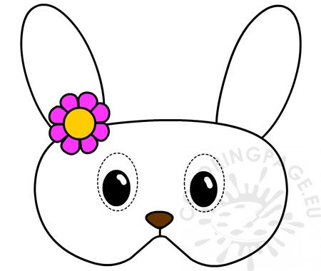 Bunny Mask With Flowers Printable Coloring Page