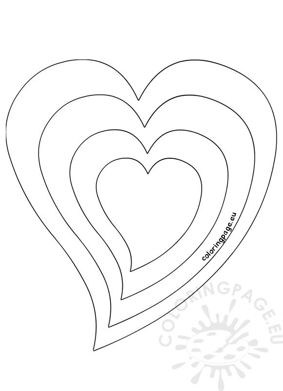 Heart Different Size Template Coloring Page