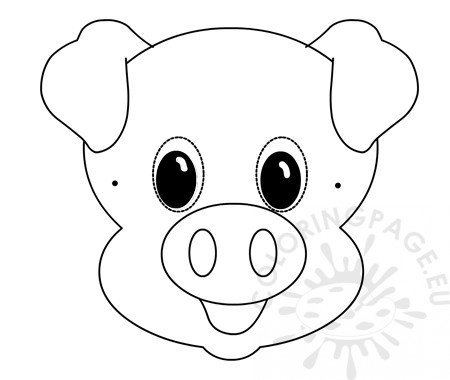 Pig Paper Mask Template Kids Crafts Coloring Page