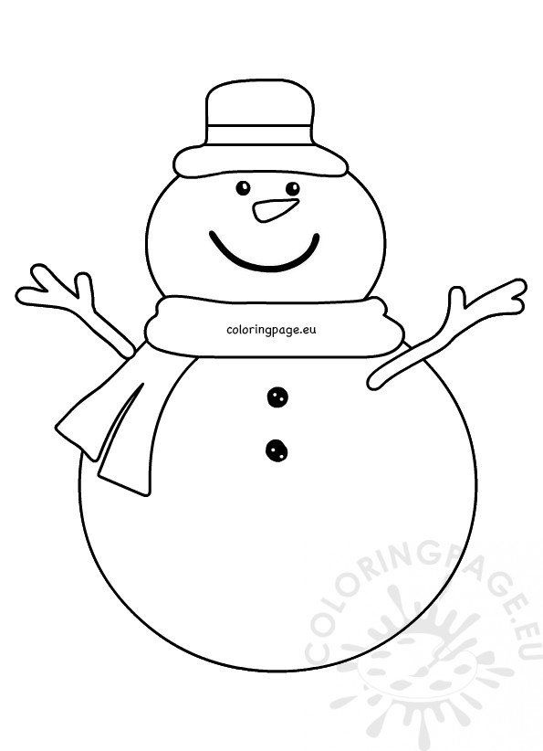 Snowman cartoon wearing a Hat and scarf - Coloring Page