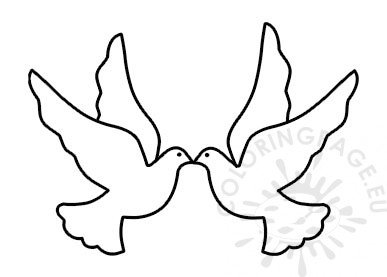 Two Doves Flying Template Vector Image Coloring Page