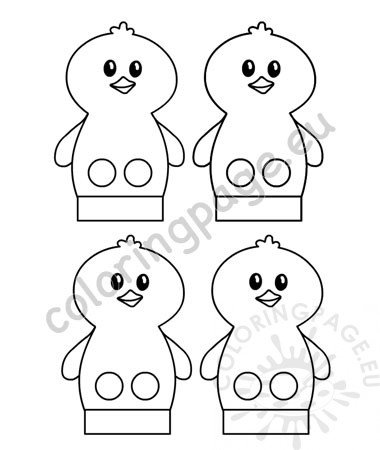 Chick Finger Puppet free template