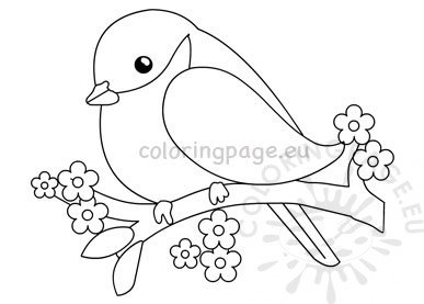 Cute Bird On The Tree Branch Vector Coloring Page