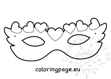 mask with hearts coloring