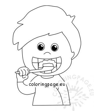 boy brushing teeth coloring pages - photo#19