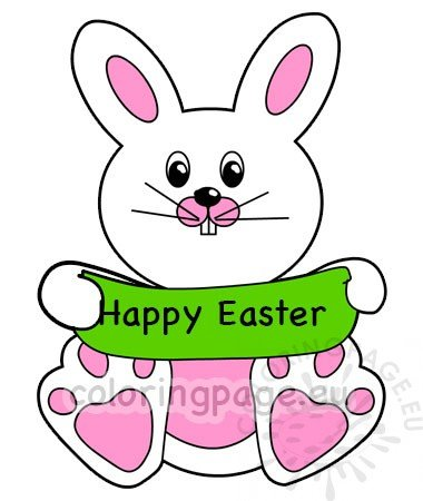 picture relating to Happy Easter Banner Printable known as Joyful Easter Bunny retaining banner Coloring Webpage