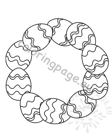 image regarding Printable Wreath Template called Printable Easter Egg Wreaths template Coloring Web page