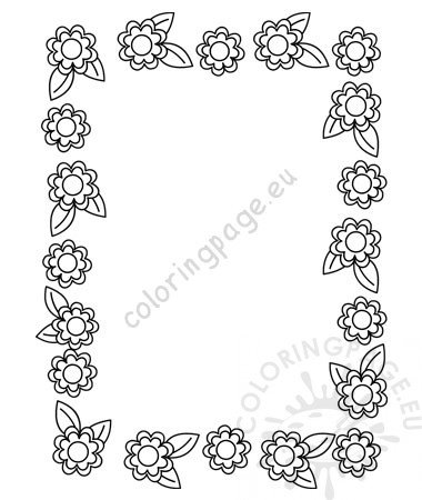 Beautiful floral border pattern frame vector - Coloring Page