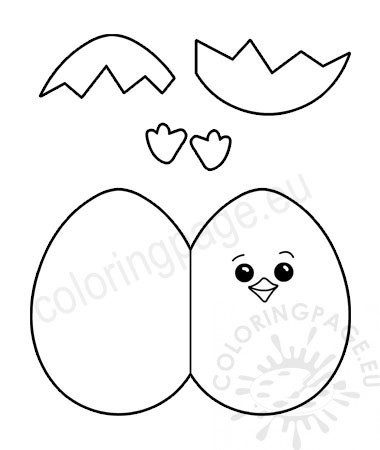 Easter Egg Chick Craf Craft Template Coloring Page