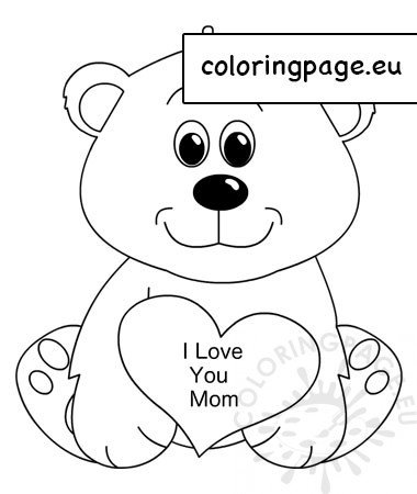 Teddy Bear Valentines Love Heart Coloring Pages Printable   450x380