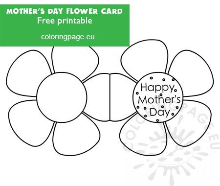 Mother S Day Flower Card Template Coloring Page
