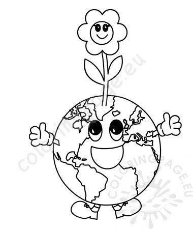 Earth Day Planet Earth With A Flower Coloring Page