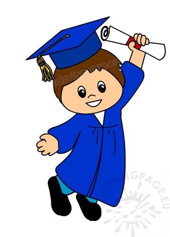 Graduation boy. Happy after clipart coloring