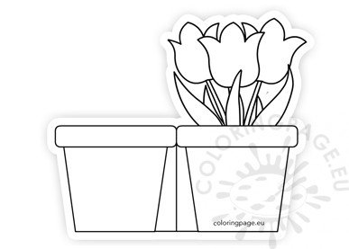 Paper Flower Pot Template Card Coloring Page