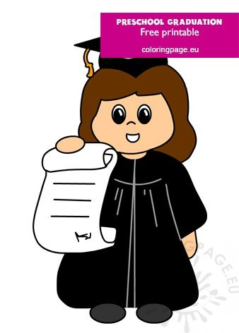 photograph about Graduation Clip Art Free Printable titled Preschool commencement clipart Lady commencement Coloring Web site