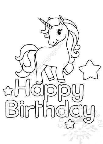 Printable Unicorn Happy Birthday - Coloring Page