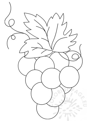 Printable Bunch Of Grapes Template Coloring Page