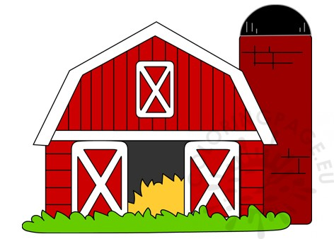 red farm house printable  coloring page