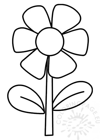 Flower With 6 Petals Coloring Page
