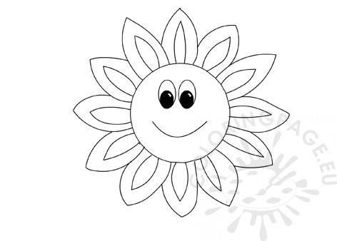Cartoon sunflower with smiley face