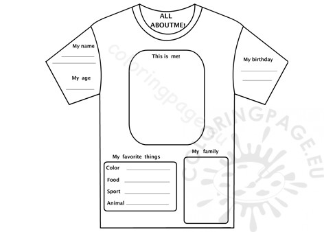 All About Me T Shirt Free Coloring Page