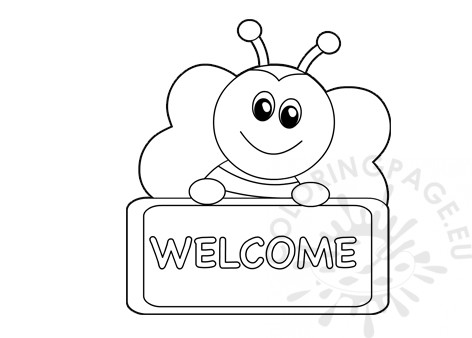 photograph about Free Printable Welcome Sign called Printable Bee welcome signal Coloring Web site