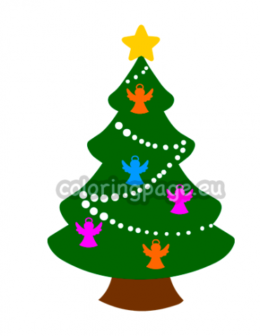 printable christmas tree with angels  coloring page