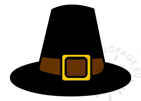 Black Pilgrim Hat printable - Coloring Page