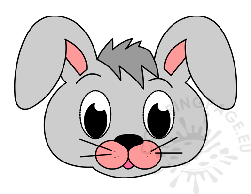 Printable Grey Bunny Mask - Coloring Page