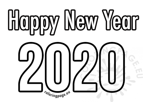 Happy New Year 2020 printable – Coloring Page