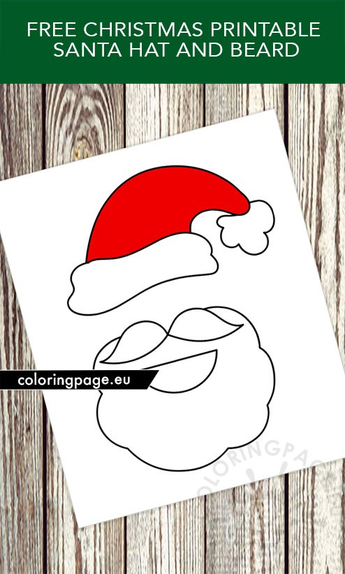 Christmas Printable Santa Hat and Beard - Coloring Page