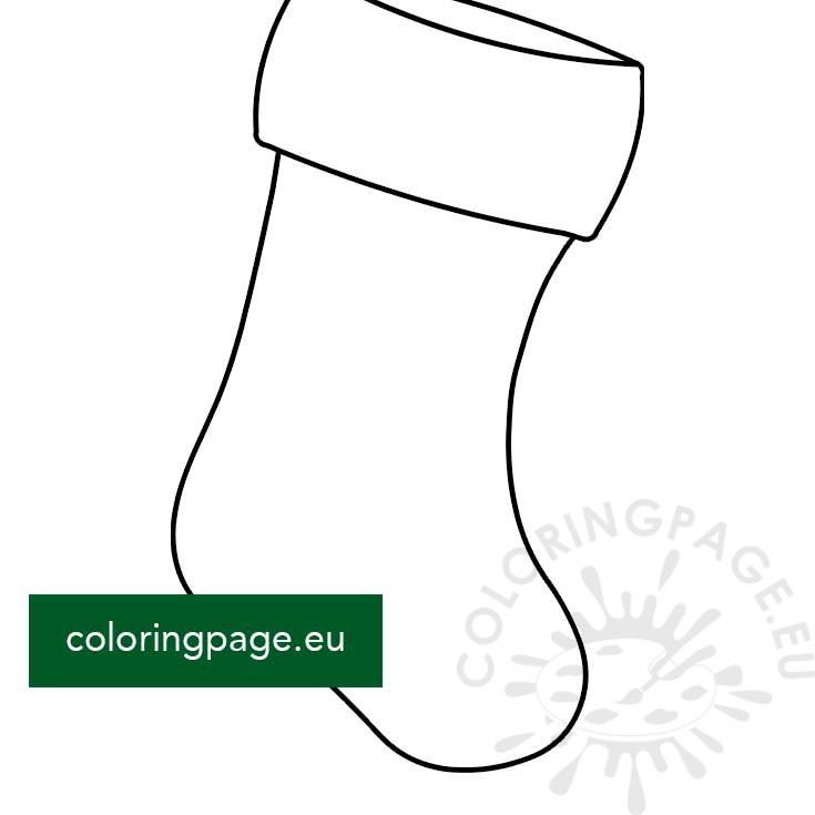 stocking template pdf  Christmas Stocking Shape printable – Coloring Page
