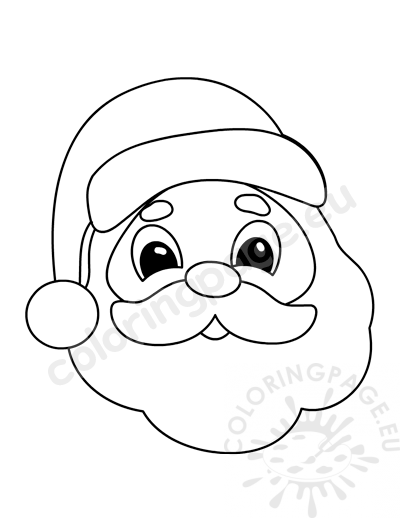 Christmas Santa Claus Face template - Coloring Page