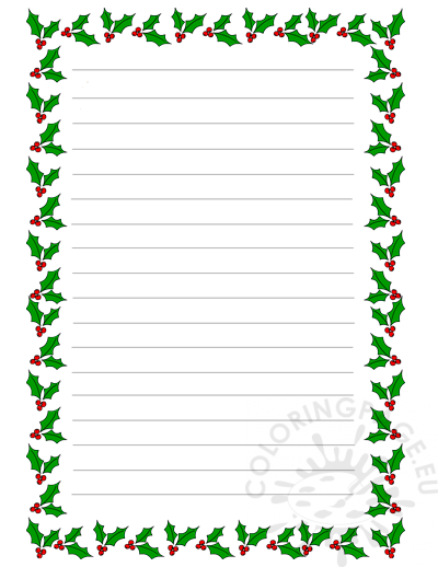 Christmas Writing Paper Template from coloringpage.eu