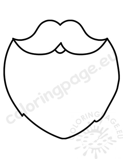 Mustache And Beard Santa Claus Template Coloring Page