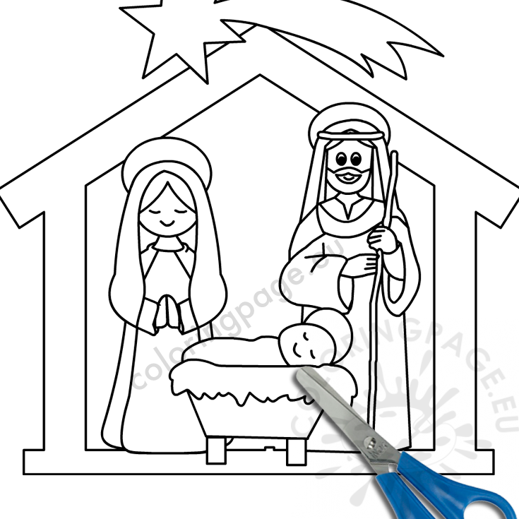Christmas Nativity scene template - Coloring Page