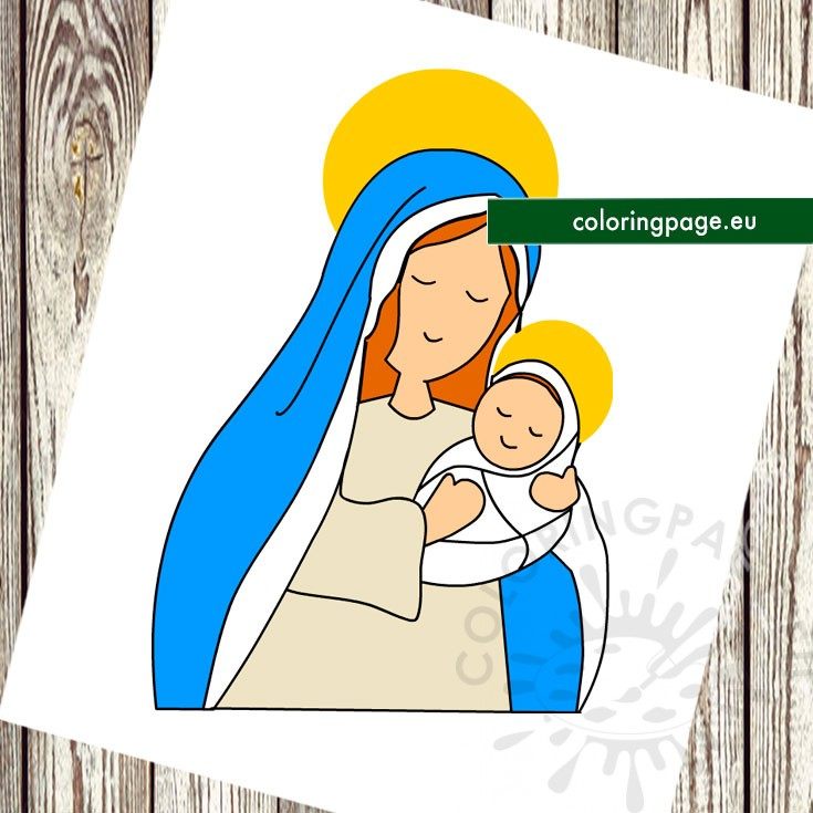 Nativity Mary with Baby Jesus printable - Coloring Page