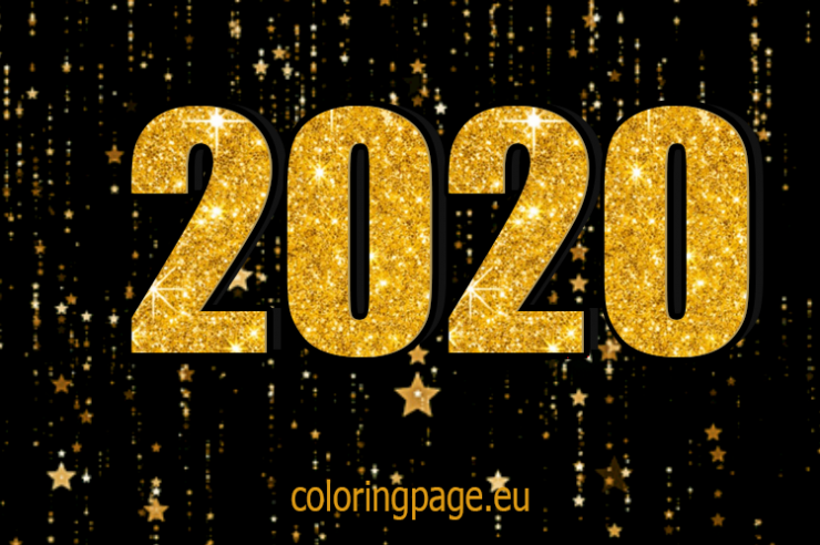 Black And Gold Happy New Year 2020 Coloring Page