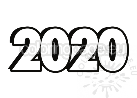 New Year 2020 Template Coloring Page