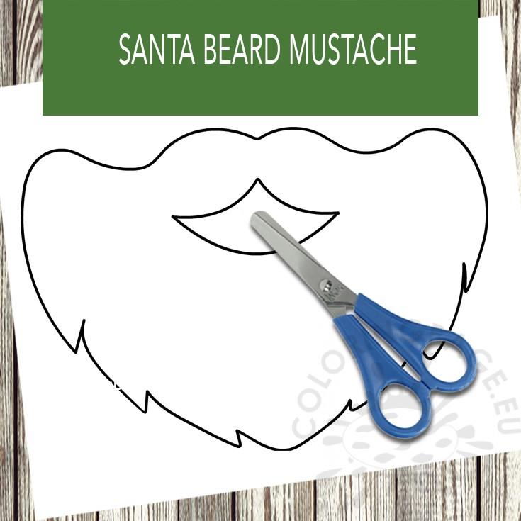 Santa Beard Mustache Template Coloring Page
